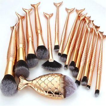 Diamond Mermaid Brush Tools Kit Fish Tail  Fish Scale makeup brushes marble  Rose gold pinceis para maquiagem 41830a
