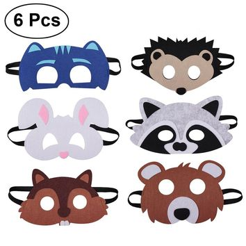 6pcs Animal Face Mask for Children Kids Birthday Party Favors Dress Up Costume