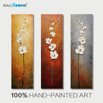 100% hand-painted 3 panel abstract Vertical white flowers oil painting canvas decoration picture wall art modern home paintings