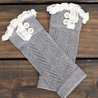 Grey Lace Boot Cuffs with buttons stretchy open knit boot toppers Boot socks for women