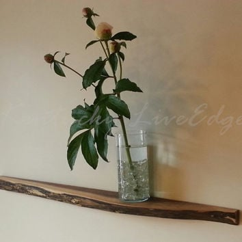 Floating Shelf- Natural Wood Shelf- Lie Edge Shelf- Black Walnut Shelf- Organic Shelf- Modern Shelf- Rustic Shelf- Cool Shelf- Narrow Shelf