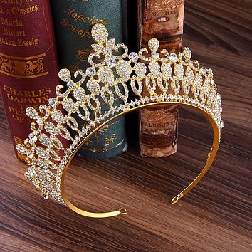 European Gold Green Red Crystal Tiaras Vintage Rhinestone Pageant Crowns Baroque Style Cosplay