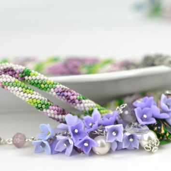 "Bead Crochet Necklace  ""Blossoming lilac"" Lilac  Flower Garden  Polymer clay  Made to order Beadwork  Jewelry"