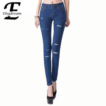 2017 Spring Summer New Korean Style Female Long Pencil Pant Destroyed Jeans Women Casual Elastic Skinny Hole Jean Denim Trousers