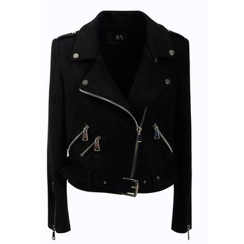 Hasp Zippers Lapel Oblique Zipper Slim Women Short Punk Jacket with Belt