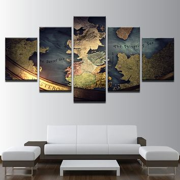 5 Panel Game Of Thrones World Map Print Mediterranean Wall Art on Canvas Framed