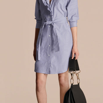 Striped Cotton Shirt Dress with Ruffles Navy | Burberry