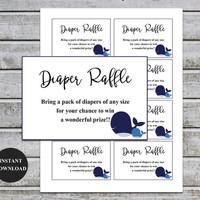 Diaper Raffle Ticket Cards | Printable Baby Shower Games | Diaper Raffle Insert for Boy Baby Shower invitations | Instant Download (v40dr)