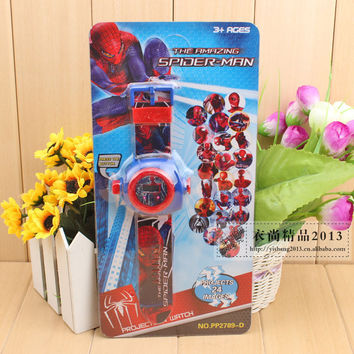 Children Cartoon 19style spiderman star war hello kitty princess Projection Watch Christmas Gift Puzzle Toys 24 Projections