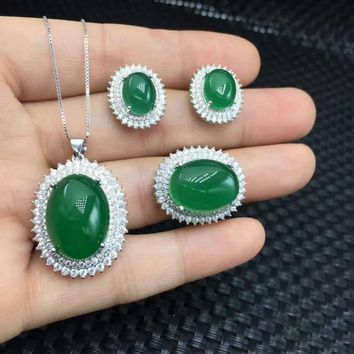 Natural green chalcedony gem jewelry sets natural gemstone Pendant ring Earrings S925 silver Elegant Diana women jewelry