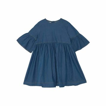 Yellow Pelota Girls' Washed Denim Dress