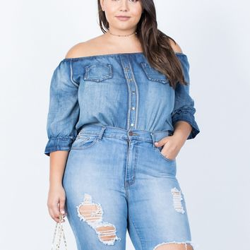 Plus Size Casual Vibes Denim Top