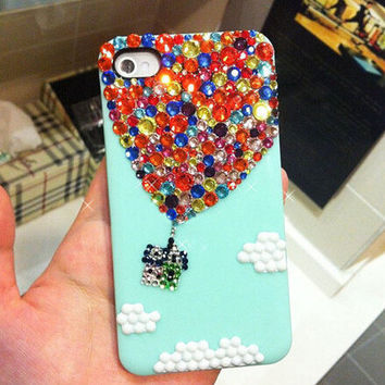 Handmade Bling sparkle diamond crystal pearl Rhinestone iPhone 5s  5 4s creative case cover Hot Air Balloon Mint