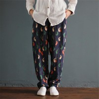 Women's Colored Corduroy Loose Pants