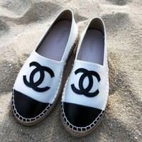 CHANEL New fashion thick grass sole shoes White black