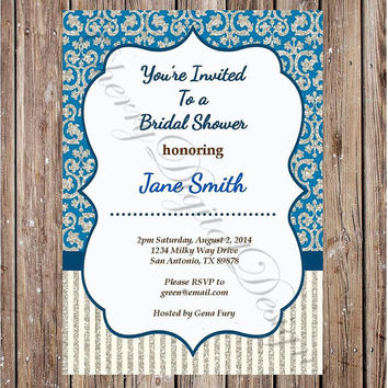 Printable Wedding Shower Invitation Blue, brown & Beige Damask and Striped Bridal Shower Invitation.  Custom Wedding, shower, baby, birthday