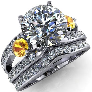 Orion Round Moissanite 2 Round Yellow Sapphire Sides Split Shank Diamond Channel Set Ring