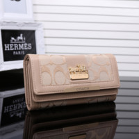COACH Women Leather Fashion Embroidery Purse Wallet