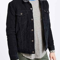 Levi's Black Corduroy Sherpa Trucker Jacket- Black