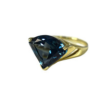 14k Gold London Blue Topaz Ring 7.29 cts Pie Cut Gemstone