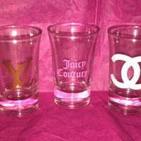 Custom Designer LV CC JC Name Set of 3 Shot Glasses
