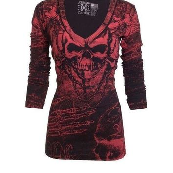 Women T Shirt Long Sleeve Rose Tattoo Casual V Collar Skull Print