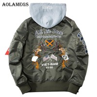 Aolamegs Bomber Jacket Men Embroidery Dragon Hooded Plus Size Men's Jacket Hip Hop Outwear Autumn Men Coat Baseball Jackets 2017