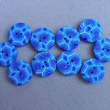Polymer Clay Buttons, 3/4 inch, handmade. set of 10, blue spirals