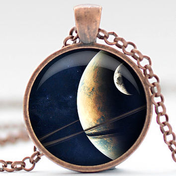 Saturn Necklace, Planets and Moon Art Pendant, Saturn Jewelry, Outer Space Necklace Gift for Him or for Her (408)
