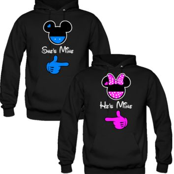 she is mine he is mine mickey & minnie Sweatshirt Love Couple Hoodies