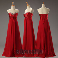 Red sweetheart Ruched Beading lace up Chiffon Long Prom Dress/ Prom Dress/Evening Dress/Party Dresses e3042
