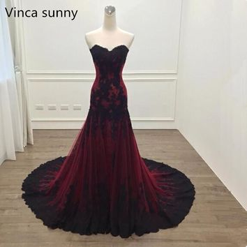 Vinca sunny Elegant sweetheart Lace Long Prom Dresses 2018 Burgundy Sleeveless Floor Length Formal Evening Party Gowns