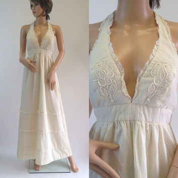 70s Ivory Dotted Swiss Deep V Backless Halter Maxi Dress with Eyelet Ruffle Trim, Size Small by Julie Los Angeles