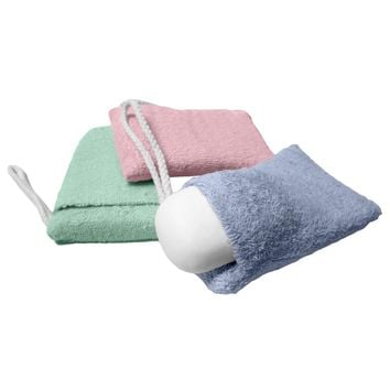 Evelots Set of 3 Terry Cloth Soap Holder, Soap on a Rope, Soap Saver