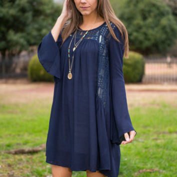 Free As Can Be Dress, Navy
