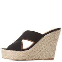 Black Crisscross Mule Wedge Sandals by Charlotte Russe