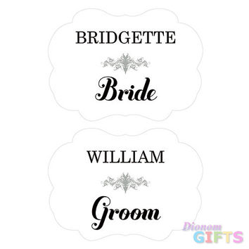 Personalized Bride and Groom Paper Chair Markers