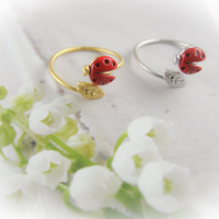 CHOOSE ONE gold / silver tiny red ladybug with leaf ring size 5 - 8 us