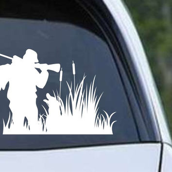 Duck Hunter with His Dog Silhouette HNT1-74 Die Cut Vinyl Decal Sticker
