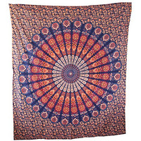 Handicrunch Mandala Blue and Red Tapestry, Large Table Runner Bed Cover Indian Art, 100% Cotton, Home Decor Wall Hanging, Table Cloth Home Décor Bed Spread, Cotton Bohemian Tapestry, Hippie Tapestry, Cotton Bed Sheet, Decor Art Wall Hanging