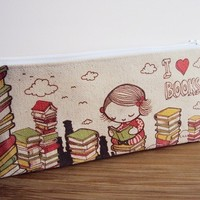 Small I Love Books Zipper Pouch