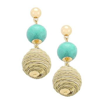 Beatnix Fashions Mint Colored Wood Thread Ball Dangle Earrings