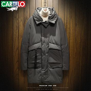CARTELO 2017 New Winter Down Jacket Men New 70% white duck down coat Hooded Top quality brand clothing long male down parkas