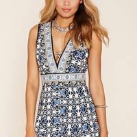 Ornate Print V-Neck Romper