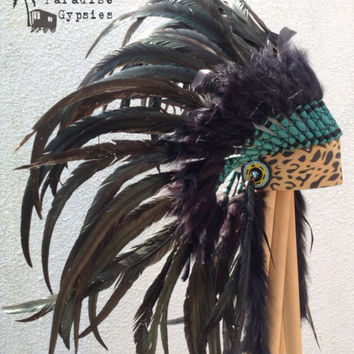 Lepoard Front Headdress Black & White Feathers by Paradise Gypsies