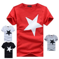 Fashion Star Brand Men's T-shirt  Neck Cotton Clothes  Short-sleeved Tees  (Asia size) [10312515075]