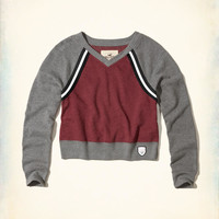 Girls V-Neck Crop Sweatshirt | Girls Tops | HollisterCo.com
