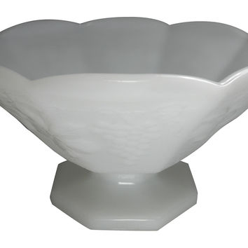 Milk Glass Footed Fruit Bowl