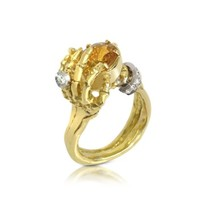 Bernard Delettrez Designer Rings Yellow Sapphires and Gold Skeleton Hands Ring