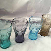 Set of Four Coca Cola Drinking Glasses in Deferent Colors
